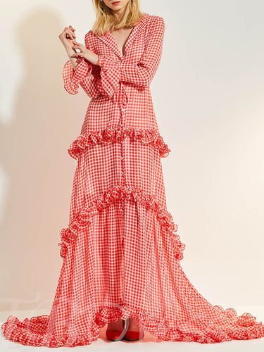 Notch Lapel  Ruffle Trim  Plaid  Bell Sleeve Maxi Dresses