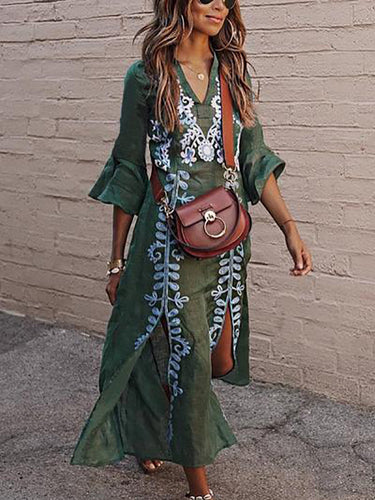 Sexy V Collar Floral Printed Slit Maxi Dress Floral Maxi Dress Green Floral Dress