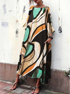 Baggy And Fashionable Print Maxi Dress Print Shift Dress Plus Size Maxi Dresses