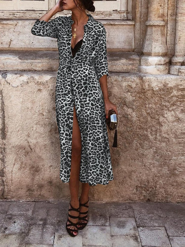 Ladies' Fall/Winter Leopard Print Long Sleeve Casual Dress