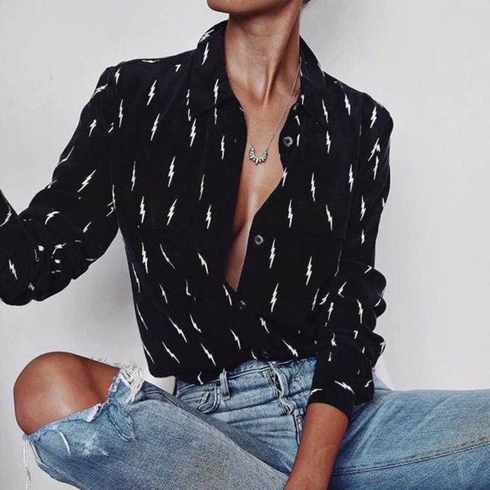 Lapel Collar Sexy Blouses Black And White Printed Tops