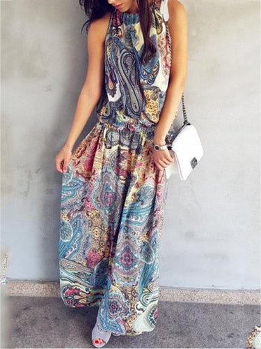 Halter Printed Sleeveless Maxi Dresses Vacation Dresses