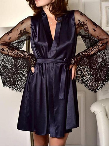 Simulation silk loose sexy lace bathrobe adult pajamas
