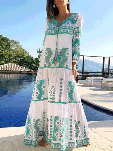 Spring Summer Cotton And Linen Floral Printed Vacation Maxi Dress Floral Dress Vacation Dresses
