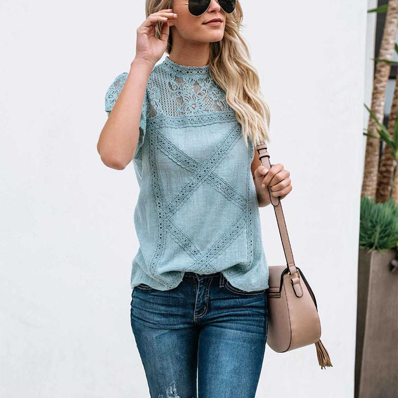 Colabingo: Fashion Lace Hollow Out Splicing Short Sleeve T-Shirt