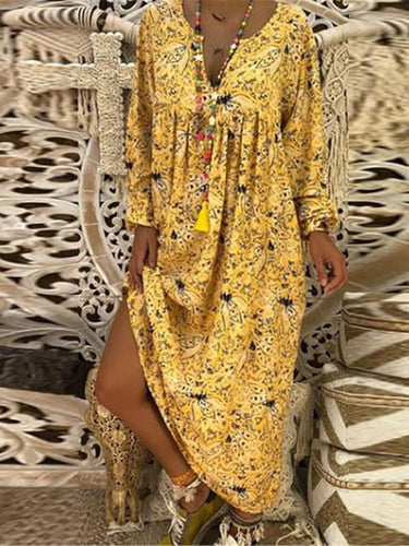 2019 V Collar Floral Printed Loose Vacation Dress Maxi Dresses