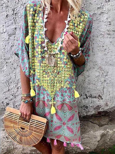 Bohemian Printed Colour V Neck Half Sleeve Dresses Bohemian Dress Printed Dress