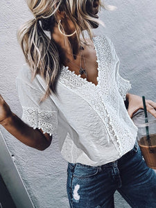 Casual V-Neck Short Sleeves Lace Top