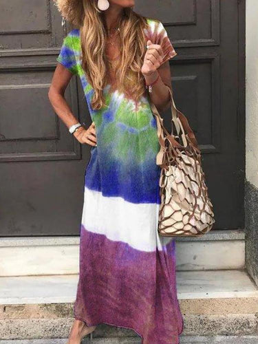 Bohemian Printed Colour Round Neck Short Sleeve Loose Dress
