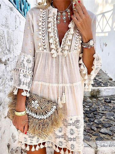 V-Neck Lace Fringe Casual Vacation Mini Dress
