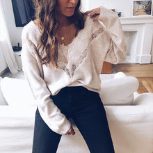 Sexy V-Neck Long-Sleeved Lace-Paneled Knit Sweaters