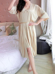 Pajamas simulation silk nightdress sexy two-piece home service 9a0894435