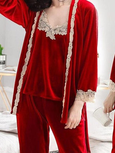 Autumn and winter ladies flannel robe three-piece gold velvet home service