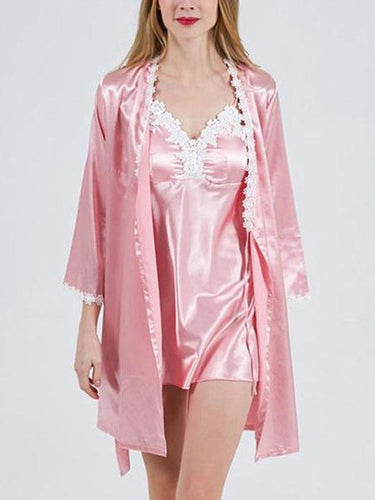Home Service Sexy Nightdress Simulation Silk Bundle Pajamas