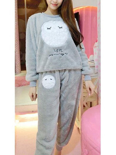 Plush cartoon long sleeve pajamas