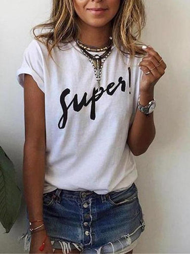 Summer Letter Printed Loose Short Sleeve Top