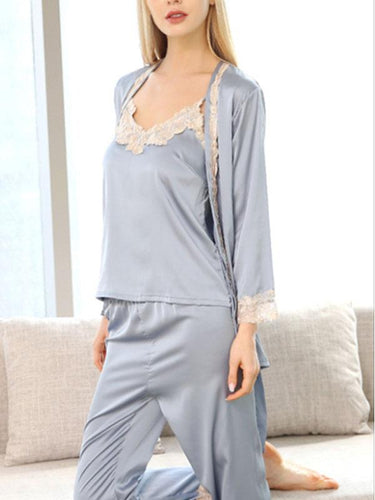 Pure color lace silk-like sexy sling pyjamas
