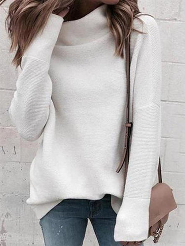 High Neck Fashion Plain Sweaters