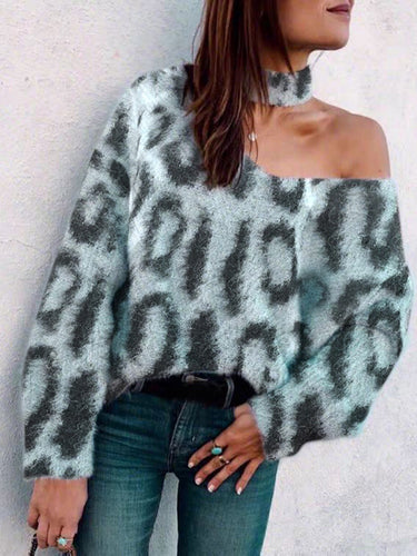 Fashionable single shoulder neck long sleeve printed sweater