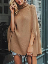 Women's Casual Pure Color Batwing Sleeve High Collar Sweater