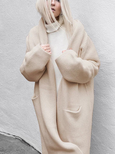 Autumn And Winter Pockets Long Loose Korean Knit Jacket Coat Cardigan