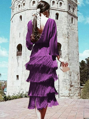 Sexy Backless Tassel Purple Maxi Dress Party Dresses Long Sleeve Dress