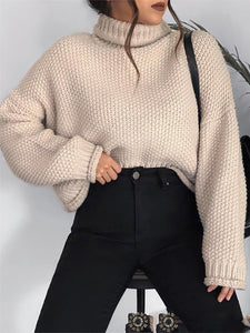 Simple high collar long sleeve loose solid color sweater