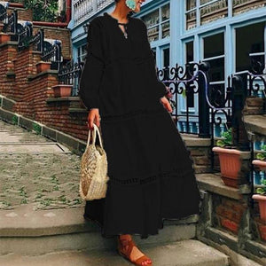 V Neck Lantern Sleeve Hollow Out Maxi Dress Casual Summer Dresses