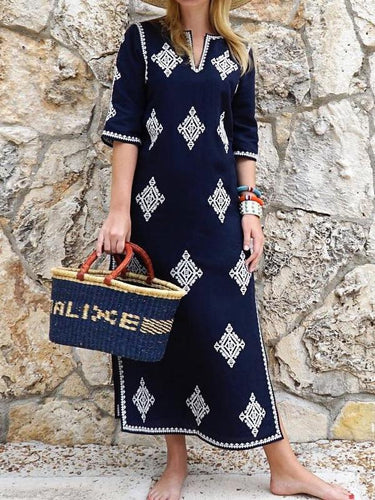 Fashion Half Sleeves Embroidered Maxi Vacation Dress Blue Maxi Dress Maxi Dress With Sleeves