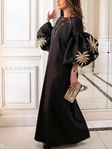 Fashion Round Collar Loose Bubble Sleeve Printing Maxi Dress Black Dress