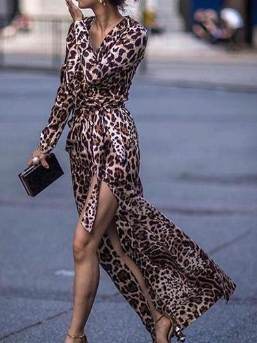 Leopard Print Side Vented Sexy Long Sleeve Dress Maxi Dresses