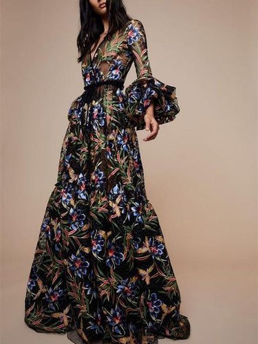 V-Collar Print Long-Sleeved Maxi Dress Evening Dresses