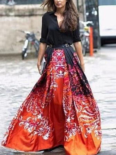 Fashion Printed Long-Sleeved Maxi Dress Elegant Dresses