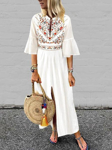 V-Neck Cotton/Linen Printed Casual Dress White Maxi Dresses