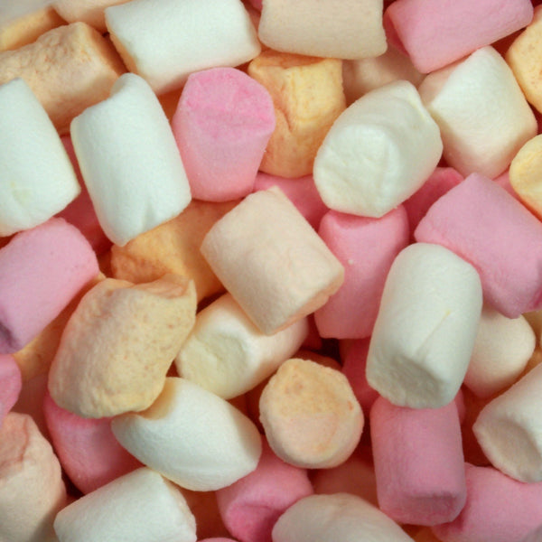 Mini Marshmallows : 100g - Tiny soft and spongy pink, peach and white marshmallows