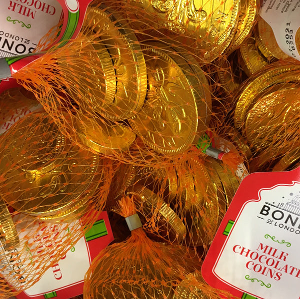 Milk Chocolate Coins in a Net : x5 - Solid Milk Chocolate Coins