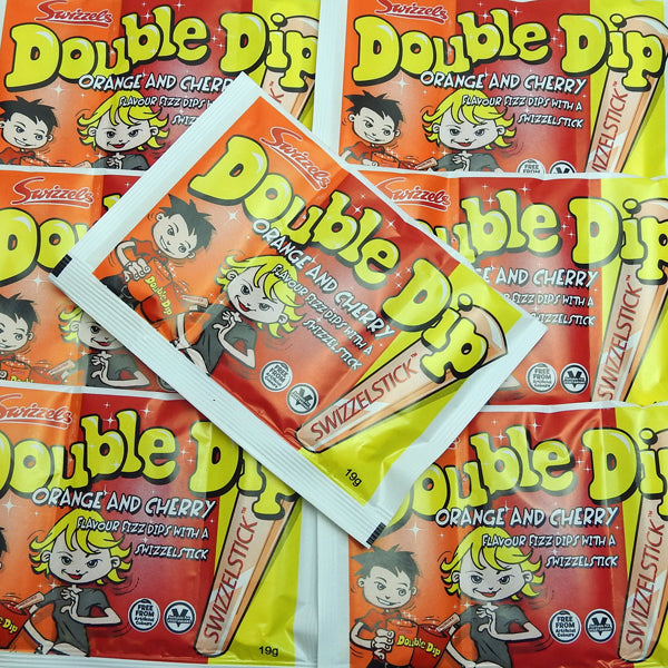 Double Dip : x8 - Orange & Cherry Flavour Fizz Dips with a Swizzels