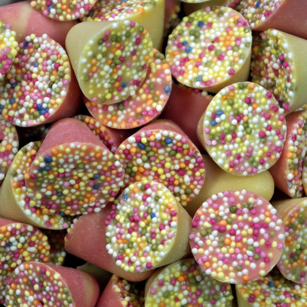 Spinning Tops : 200g - Strawberry and Cream Flavour Candy with a Candy Topping