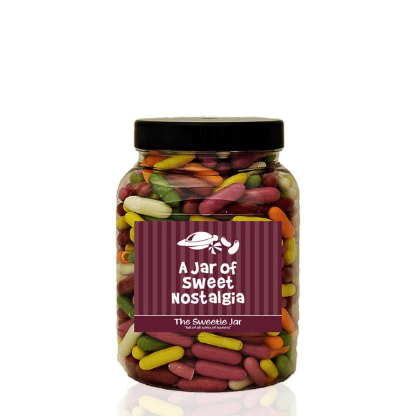 A Medium Jar of Liquorice Torpedoes - Sugar Coated Liquorice Pieces at The Sweetie Jar