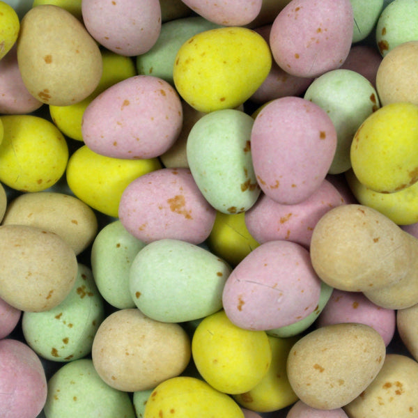 Milk Chocolate Mini Eggs : 200g - Speckled crisp candy shells filled with delicious milk chocolate.