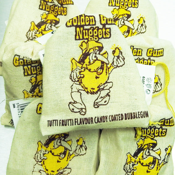 Golden Gum Nuggets Bubble Gum : x2 - Tutti Fruitti Flavour Candy Coated Bubblegum