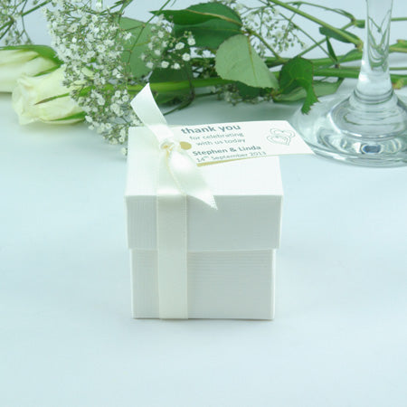 WHITE Square Wedding Favour Boxes - Oodles Of Different Sweet Fillings