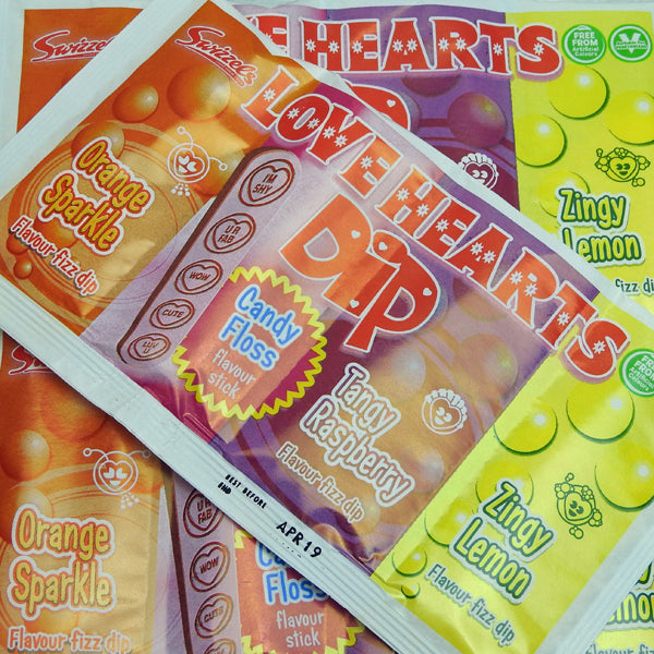 Love Hearts Dip : x8 - 3 Fruit Flavour Fizz Dips & a Love Hearts Stick