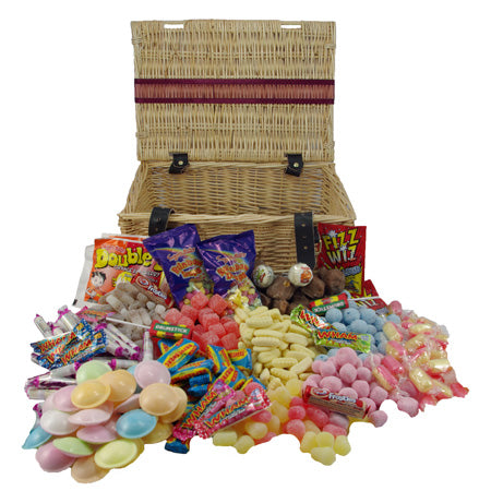 Retro Sweets Wicker Hamper : Medium - The perfect present for any sweet-toothed friend or relative