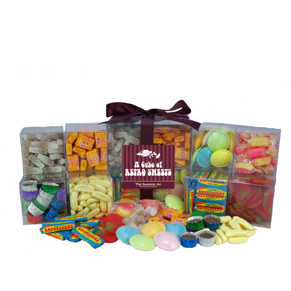 Retro Sweets Cube : Large - Filled with all sorts of old fashioned retro sweets