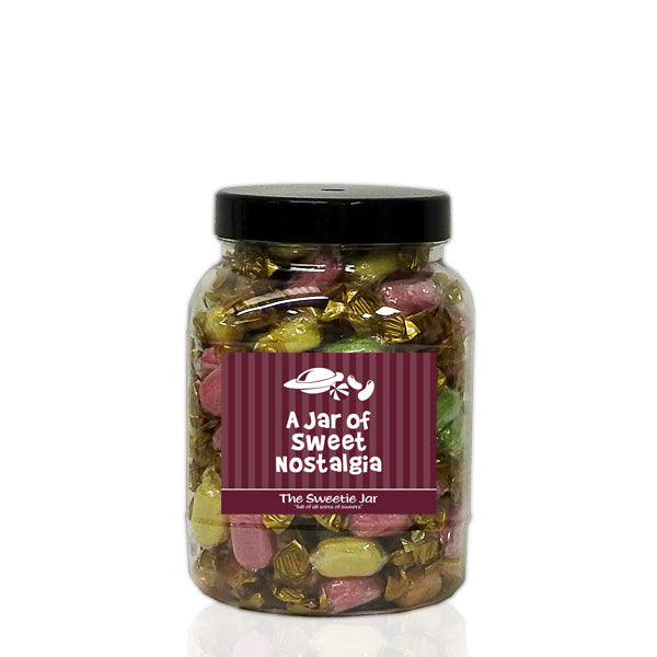A Medium Jar of Chocolate Fruits - Fruit Flavour Boiled Sweets with a Milk Chocolate Centre