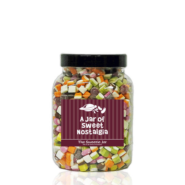 A Medium Jar of Dolly Mixtures - Multicoloured Candy and Jelly Sweets