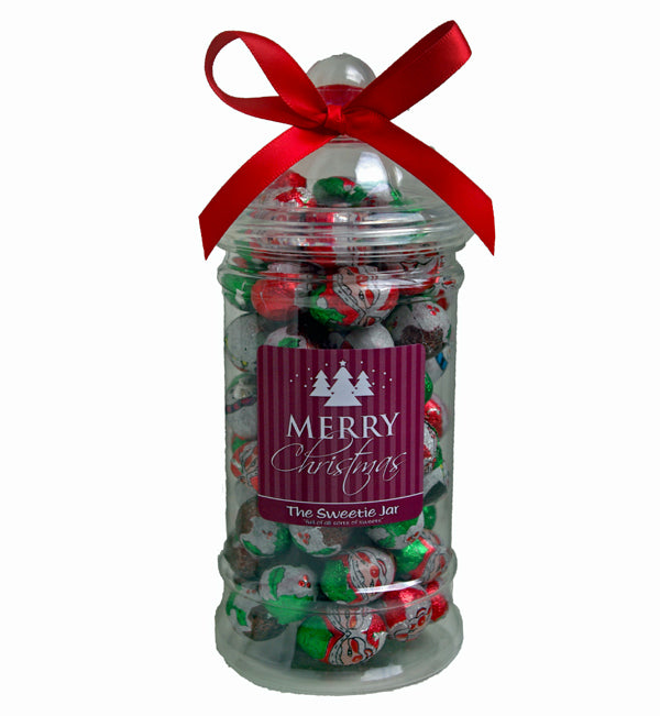 Christmas Characters Victorian Jar - Milk Chocolate Christmas Shapes