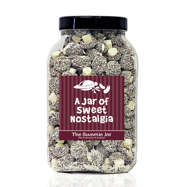 A Large Jar of Coconut Mushrooms - Mushroom Shaped Sweets Covered In Flakes Of Coconut
