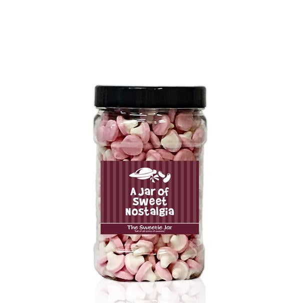 A Small Jar of Foam Mushrooms - Fruit Flavour Jelly Foam Sweets